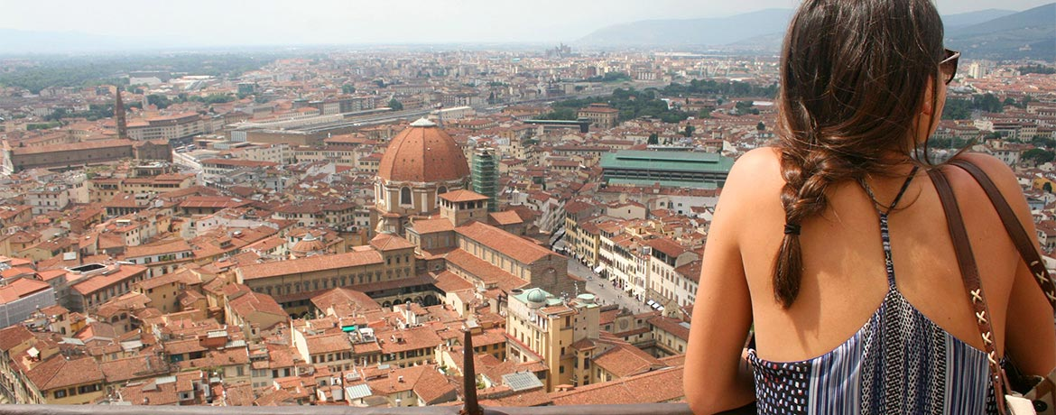 student looking out over Florence Italy