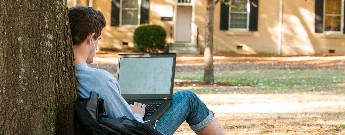 student typing on a laptop outdoors on the Horseshoe