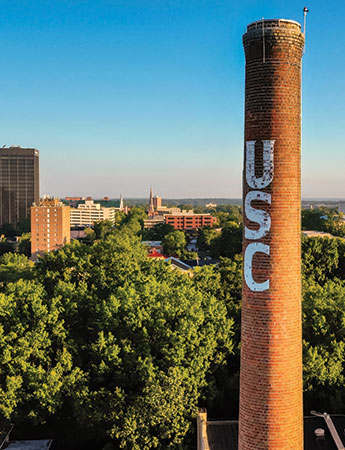 skyline of Columbia with the USC smokestack