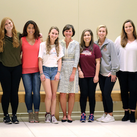 Susan O'Malley with female sport and entertainment management students