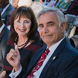 President Pastides and Mrs Moore-Pastides at the State of the University