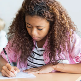 girl student taking a test