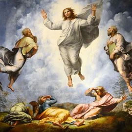 Painting depicting transfiguration of Jesus, a story in the New Testament