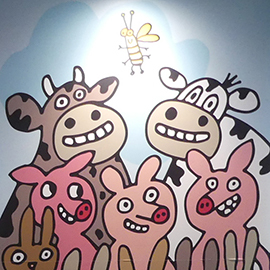 painting showing cartoon cows and pigs looking at a firefly
