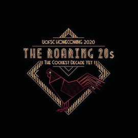 A roaring '20s themed graphic for UofSC Homecoming. It is a black background with a gold triangular, geometric design. In the middle is a garnet gamecock rendering and text that says UofSC Homecoming 2020 The Roaring '20s the cockiest decade yet