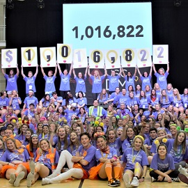 Dance Marathon celebrating fundraising total